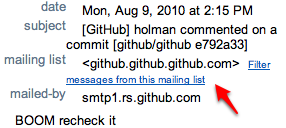 Screenshot of an email with a List-ID header in GMail.