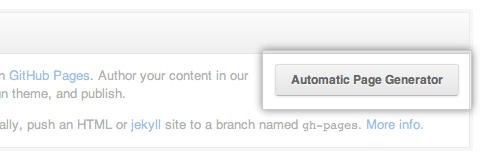 Automatic Page Generator button