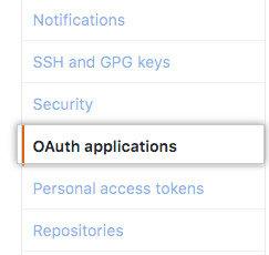 OAuth Applications tab