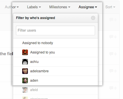 Using the Assignees drop-down tab