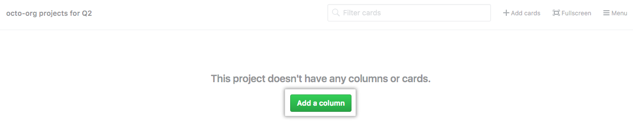 Add a column button on an empty project board