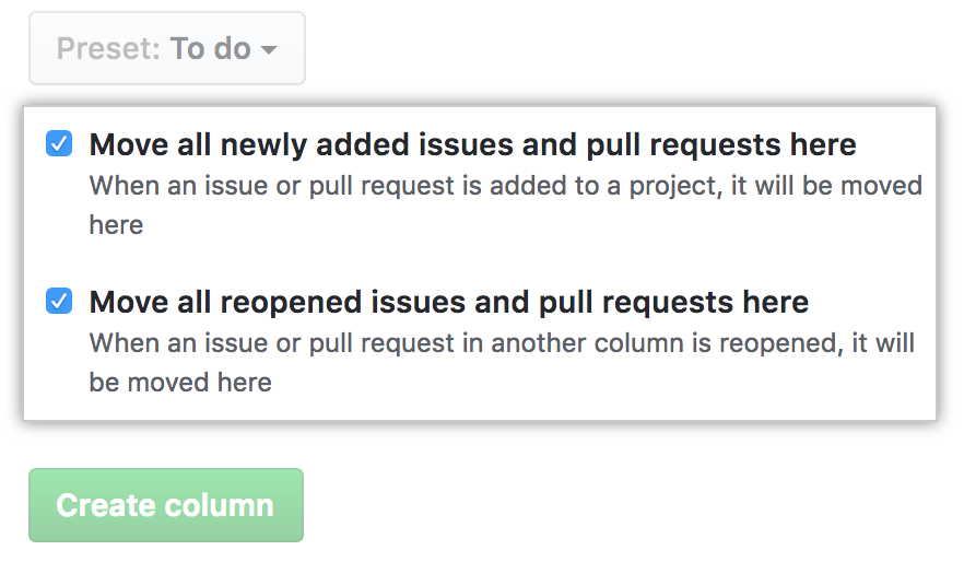 List of options for automating the column