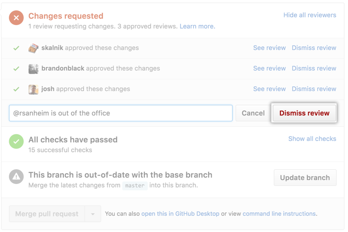 Dismiss review button