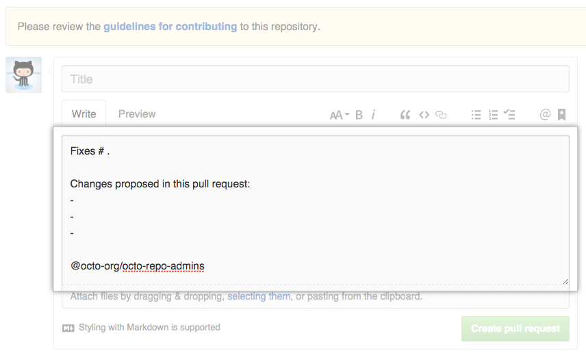 Sample pull request template