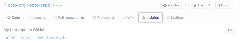 Insights tab in the main repository navigation bar