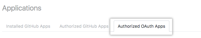 Authorized OAuth Apps tab