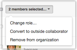 Drop-down menu with option to convert members to outside collaborators