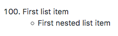 List with a nested list item