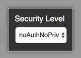 Dropdown menu for the SNMP v3 user's security level