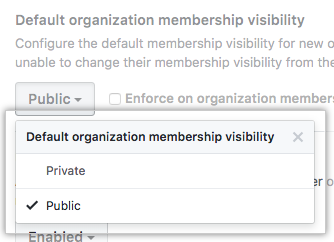 Drop-down menu with option to configure default organization membership visibility as public or private