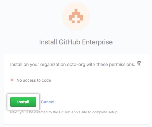GitHub App permissions page and Install button