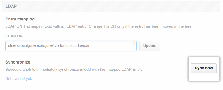 LDAP sync now button