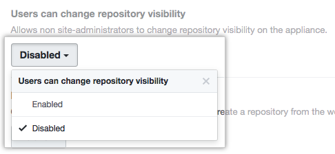 Drop-down menu with the option to allow or deny all users the ability to change repository visibility