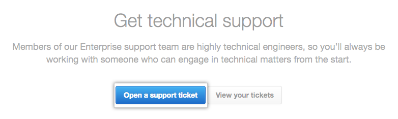 Open support ticket button