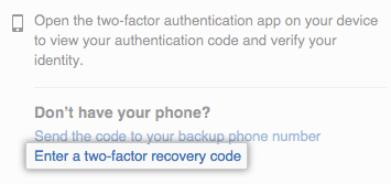 Link to use a recovery code