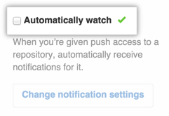 A checkbox for configuring watching repositories automatically