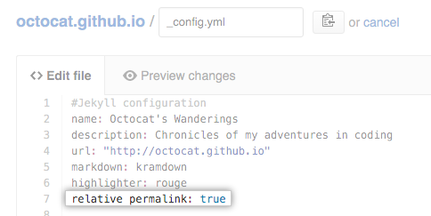 relative-permalinks-value in config.yml