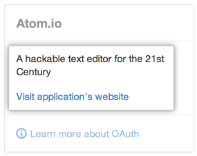 OAuth application information and website