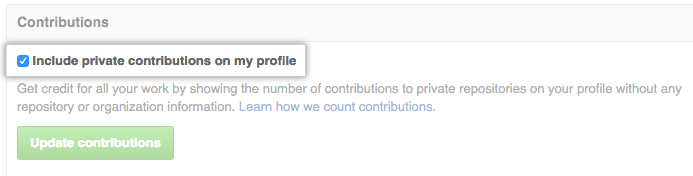 Include private contributions in my profile checkbox