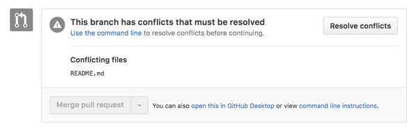 merge conflict error message