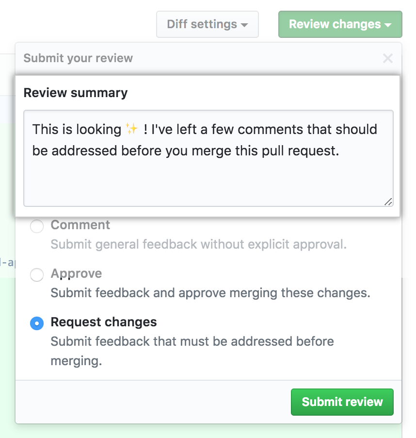 Review summary comment window