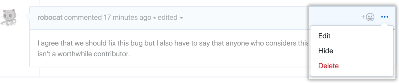 The horizontal kebab icon and comment moderation menu showing the edit, hide, delete, and report options