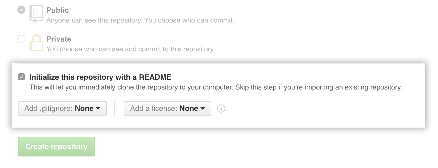 Checkbox to create a README when the repository is created