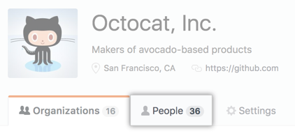 People tab on the business account profile page