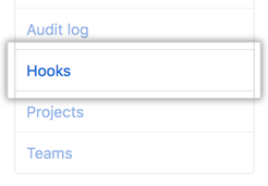 Hooks tab in the business account settings sidebar