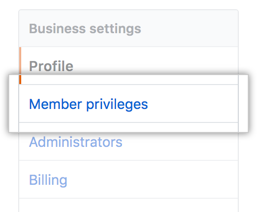 Member privileges tab in the business account settings sidebar