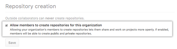Checkbox to allow members to create repositories