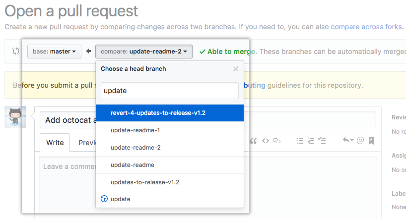 Pull Request editing branches