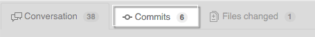 Commits tab on a pull request