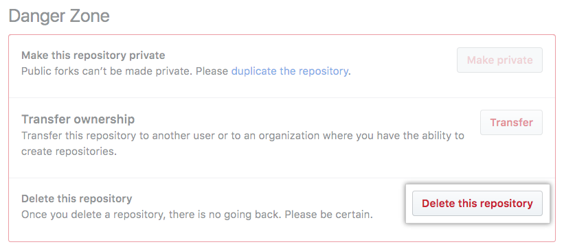 Repository deletion button