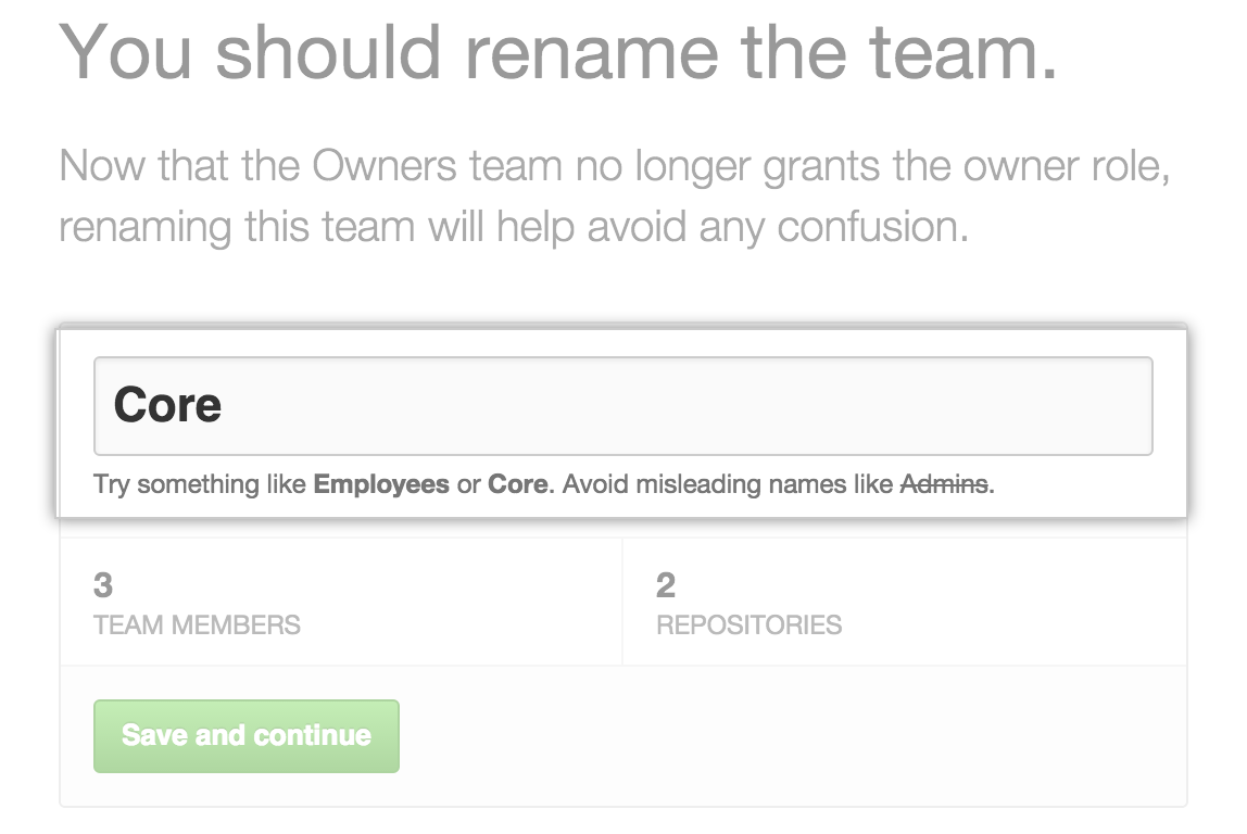The team name field, with the Owners team renamed to Core