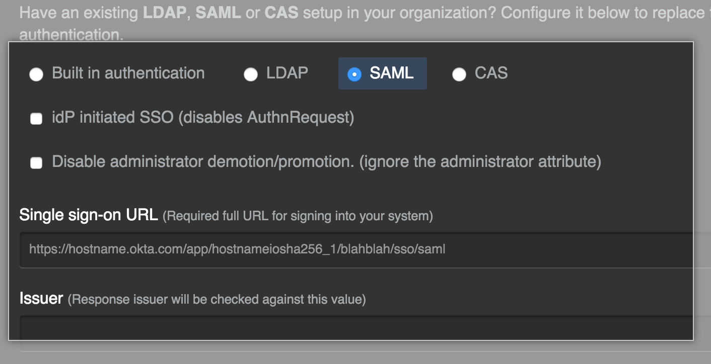 SAML authentication