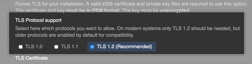 Radio buttons with options to choose TLS protocols