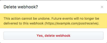 Pop-up box with warning information and button to confirm deleting the webhook