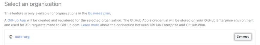 Connect button next to organization on GitHub.com