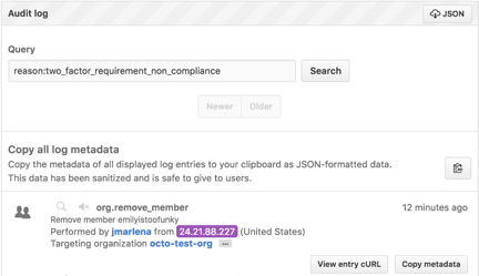 Staff tools audit log event showing a user removed for 2FA non-compliance