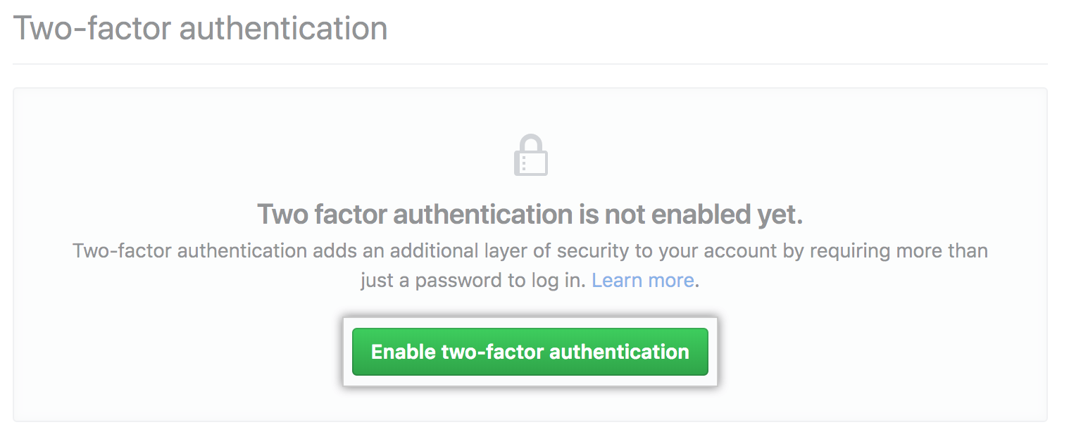 Enable two-factor authentication オプション