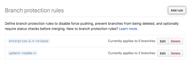 Add branch protection rule button