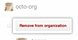 Remove from organization button