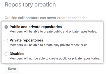 Radio buttons with repository creation options