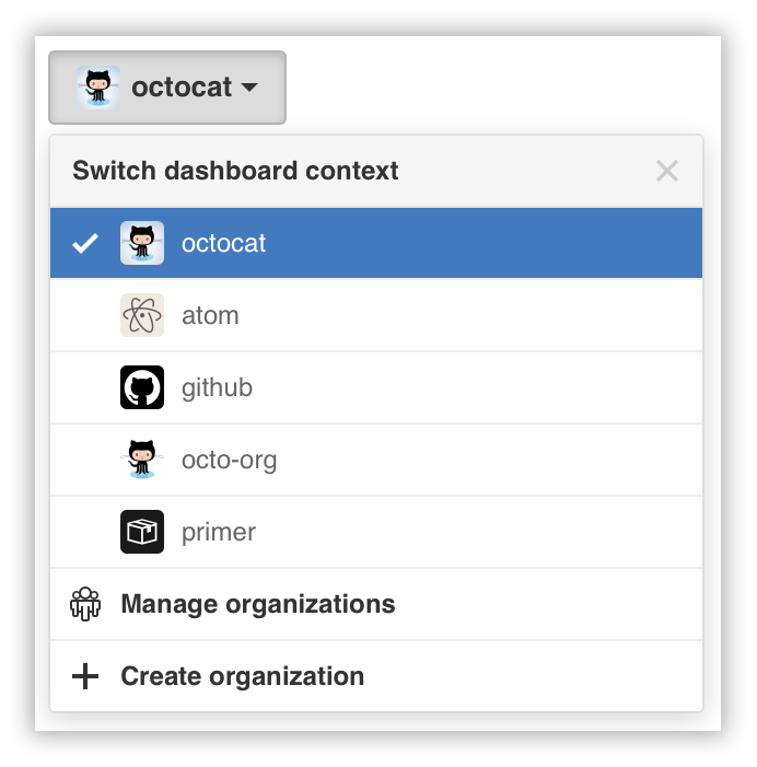 Switch account context dropdown