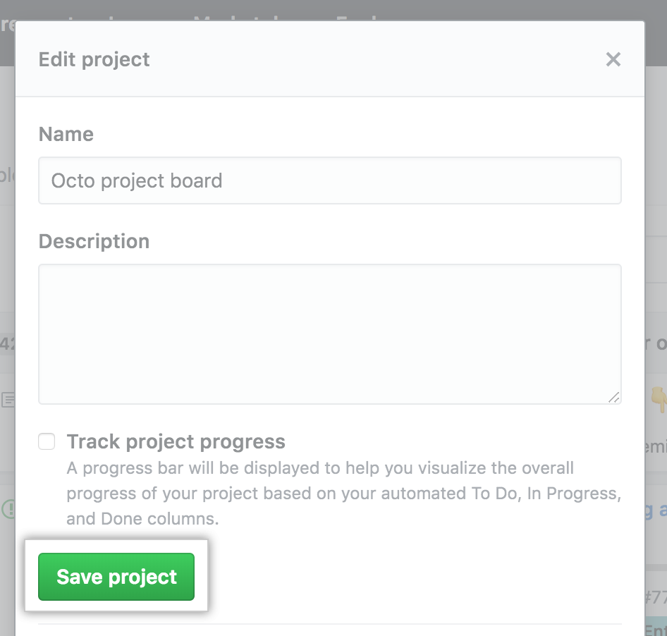 Fields with the project board name and description, and Save project button