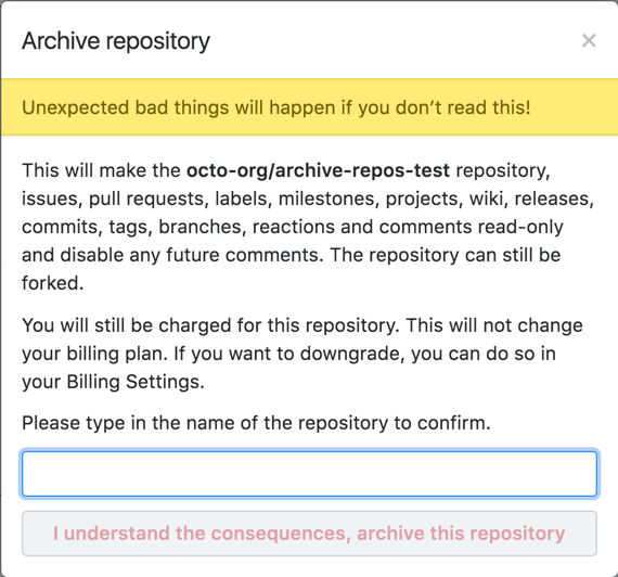 Archive repository warnings