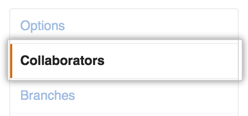 Repository settings sidebar with Collaborators highlighted