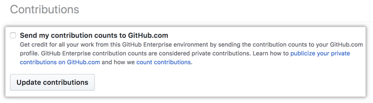 Send contributions checkbox and update contributions button