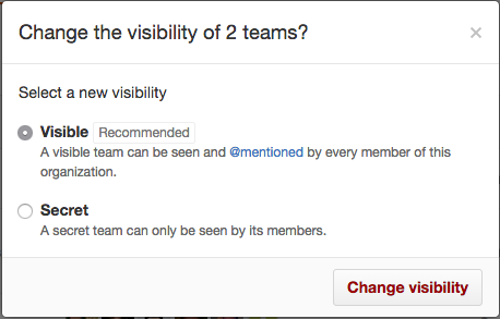 Radio buttons for making a team visible or secret and Change visibility button